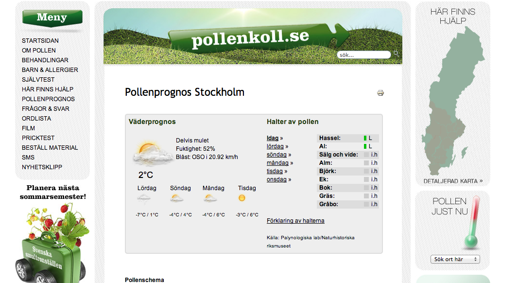 pollenprognos 2020